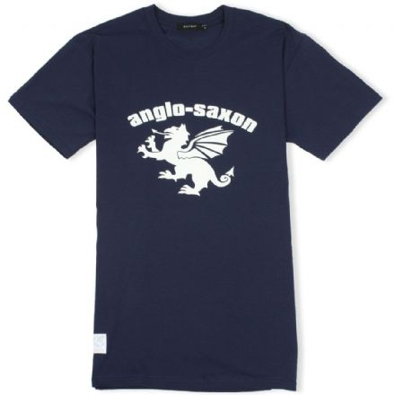 Anglo-Saxon White Dragon T-Shirt - Navy